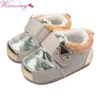 Обувь для малышей ясельного возраста теплые с рисунком кота для маленьких девочек кожа резиновая подошва Обувь для младенцев для маленьких