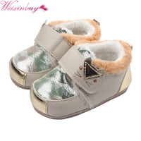 First Walkers Toddlers Warm Cartoon Cat Baby Girl Leather Rubber Sole Baby Shoes Baby Boy Comfortable Anti slip Waterproof Shoes