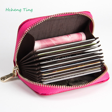 Women Zipper Wallet Credit Card Holder Patent Leather Fashion Cardholder Extendable Id Holder Bags