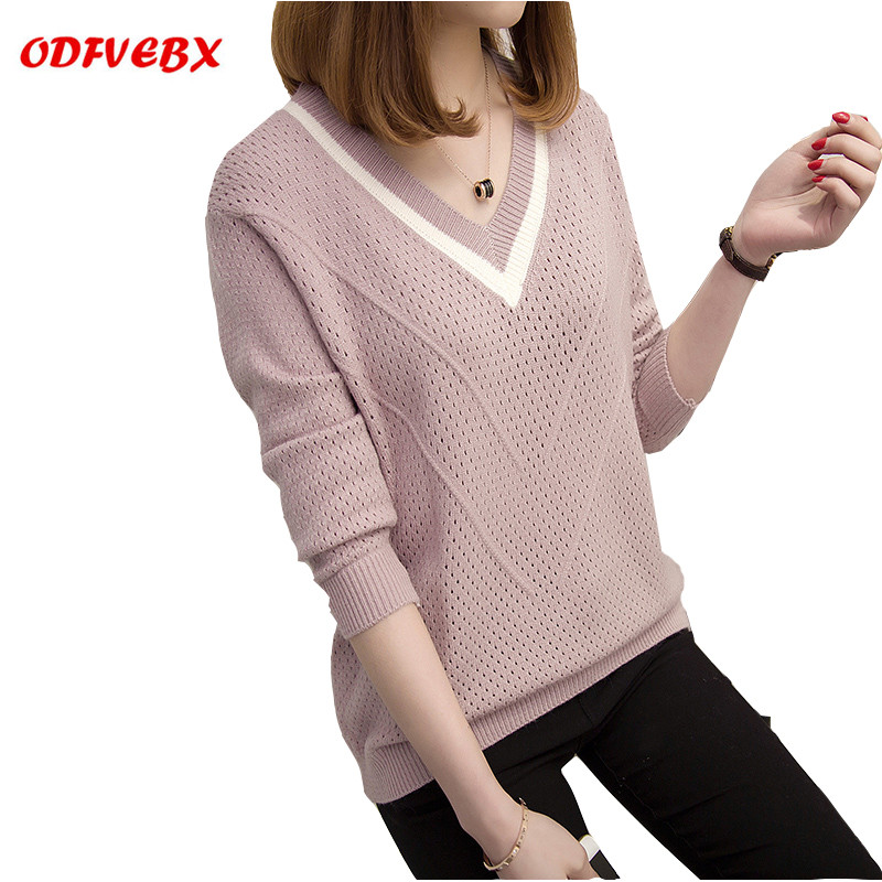 2019 Spring New Sweater Female Head Short Fashion Loose Spring And Autumn Long-sleeved V-neck Sweater Women's Clothing ODFVEBX