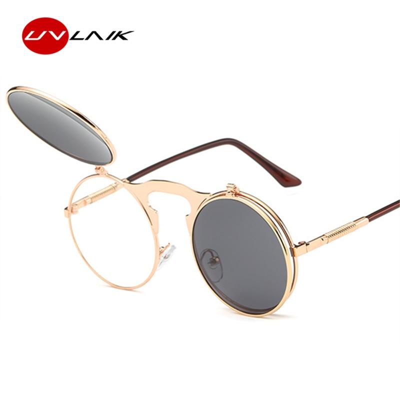 Personalidad retro gafas de sol de punk rock al vapor gafas redondas masculinas espejo femenino modelo gafas de sol mujeres hombres diseño de marca