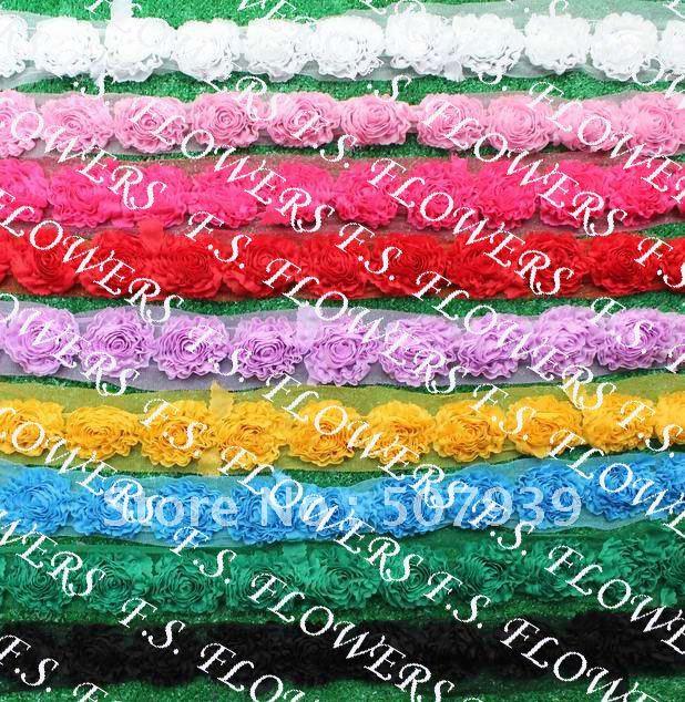 20y/280 шт 6,5 см шифон цветок отделка для Детские аксессуары для волос шифоновая повязка на голову с цветочным 9 цветов