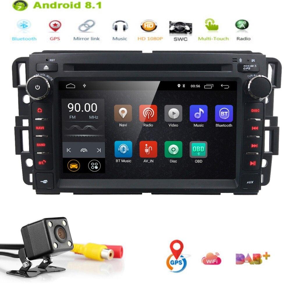 7 2 Din Android 8,1 автомобильный стерео радио dvd плеер для GMC Sierra Chevy Silverado Chevrolet четырехъядерный wifi EQ Bluetooth + карта + Cam