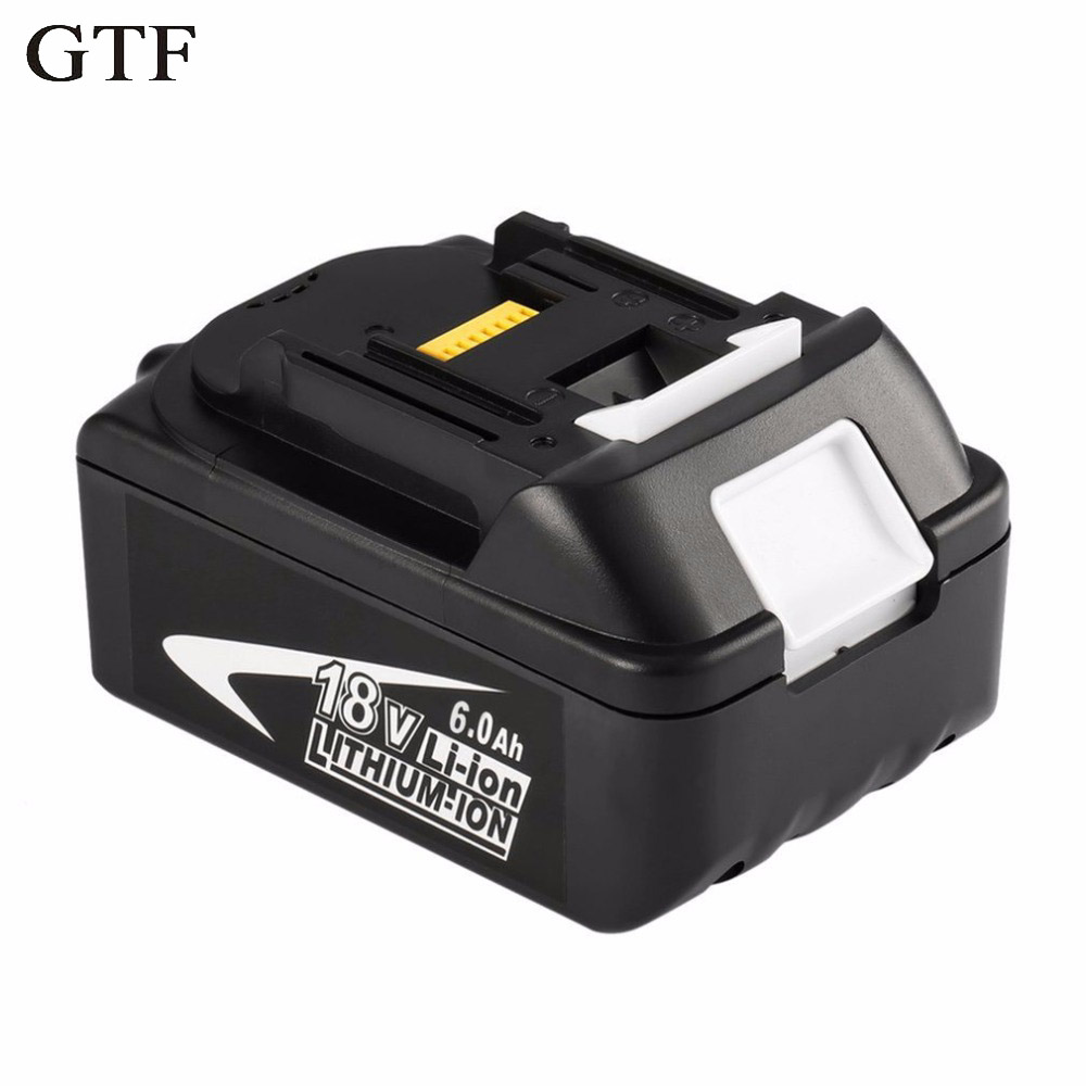 GTF 18V 6000mAh Power Tool Battery Packs for Makita BL1860 Replacement Battery Rechargeable Li-ion Batteria 194230-4 LXT400 Cell aimihuo 18v rechargeable battery 6ah 6000mah li ion battery replacement power tool battery for makita bl1860 eu us uk au charg