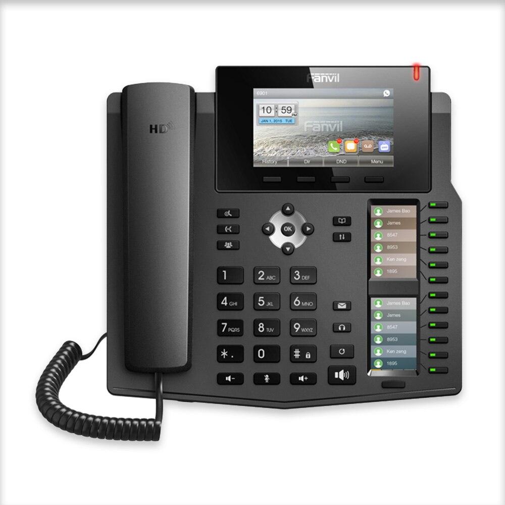 Nouveau téléphone IP Fanvil X6 haut de gamme téléphone de bureau d'entreprise voix HD avec 6 lignes SIP et 2 écrans lcd couleur de mappage de clé intelligente DSS