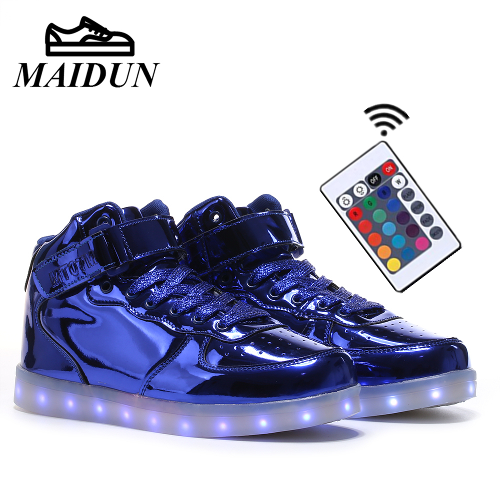 Remote Control LED Shoes Men Light Up Luminous Leisure USB Charging Shoes Male Glow Neon Basket Shoes Male Flat with Colorful