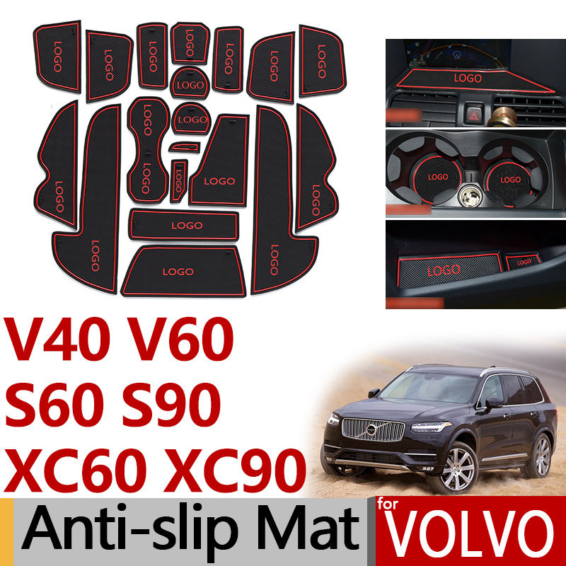 Anti-Slip Rubber Gate Slot Cup Mat for <font><b>VOLVO</b></font> V40 V60 S60 S90 XC60 <font><b>XC90</b></font> 2013 2014 2015 <font><b>2016</b></font> 2017 2018 2019 <font><b>Accessories</b></font> Stickers image