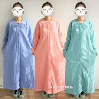Nightgowns For Women Flannel Warm winter Cotton Long Nightgowns Women Lounge nightdress Cardigan