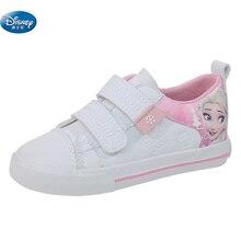 디즈니 냉동 어린이 핑크 캐주얼 신발 소녀 2108 엘사와 안나 공주 없음 신발 끈 pu 스포츠 신발 유럽 크기 25 36