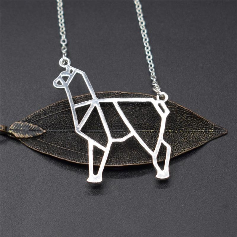 Elfin Origami Alpaca Necklaces Origami Alpaca Charm Female and Male Gift Necklaces Fashion Women Jewellery Geometric Jewellery