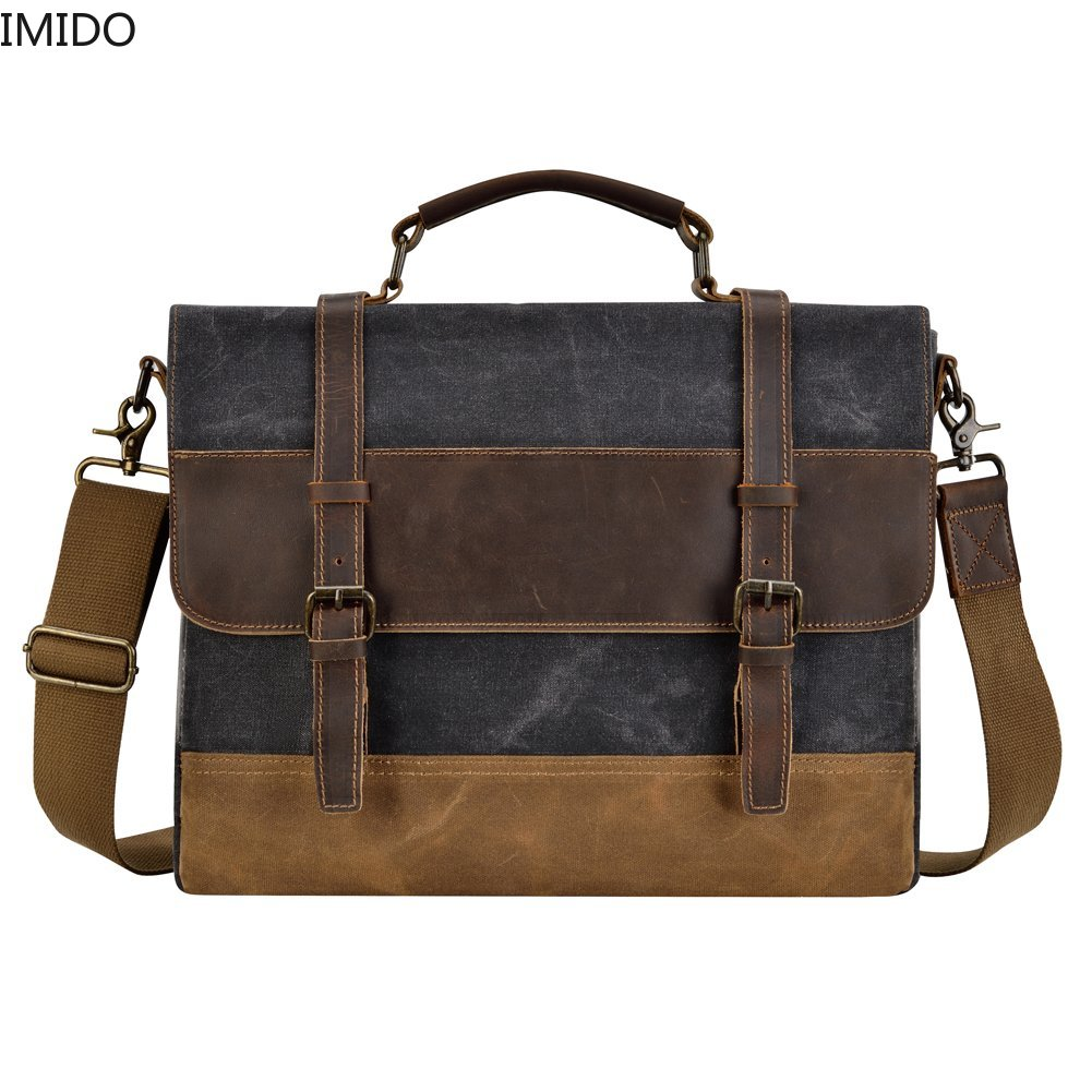 IMIDO Mens Messenger Bag 15.6 Inch Waterproof Canvas Leather Waxed Canvas Briefcase Vintage Leather Computer Laptop Bag Satchel