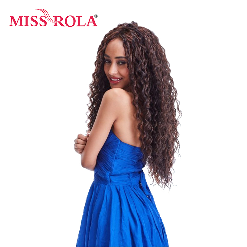 Miss Rola Long Curly Sew In Weave Synthetic Hair Extensions Two Tone Ombre Color 22inch Kanekalon Hair Weave Bundles 1 Pack