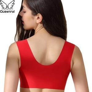 Image 3 - Queenral Plue Size Bras For Women Underwear 34 52  CDE Cup BH Front Closure Big Size Bralette Wire Free Vest Brassiere Lingerie