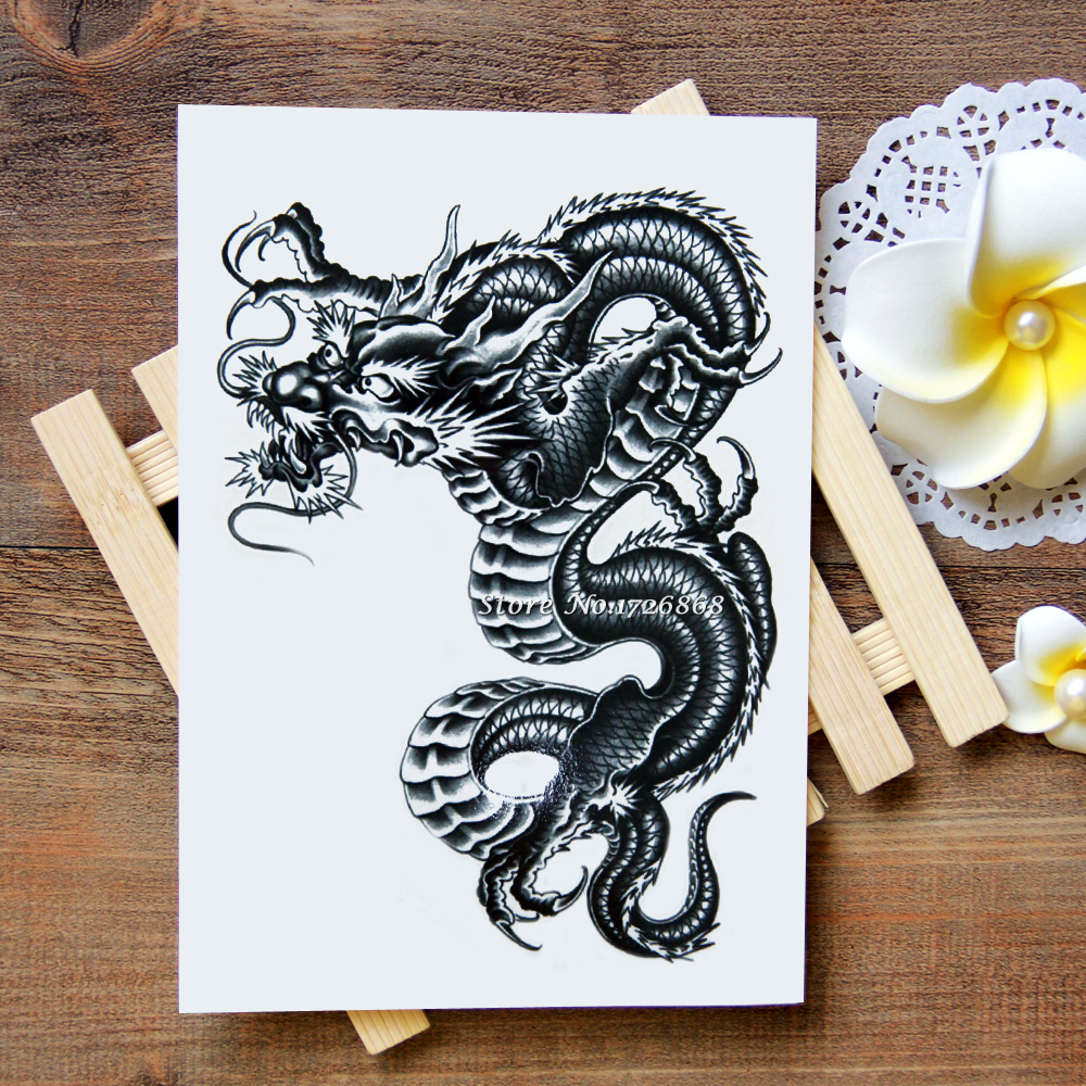 Waterproof Temporary Tattoos Stickers Chinese dragon Tattoo Flash Water  Transfer Tattoos fake tattoos for women men  227-in Temporary Tattoos from  Beauty ... b5321854e