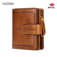 2019 Muurdde RFID Fashion Hollow Out Genuine Leather Women Wallet And Purses Coin Purse Female Small Portomonee Lady Money Bag(China)