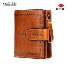 2019 Muurdde RFID Fashion Hollow Out Genuine Leather Women Wallet