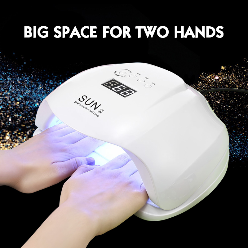 SUNX 54W Nail Dryer UV LED Lamp LCD Display 36 LEDs Nail Dryer Lamp For Curing Gel Polish Auto Sensing Nail Manicure Tools