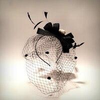 Mystic epoca fatti a mano piuma accessorio dei capelli della sposa pranzo di nozze partito accessorio dei capelli del merletto fotografia palla danza hairband