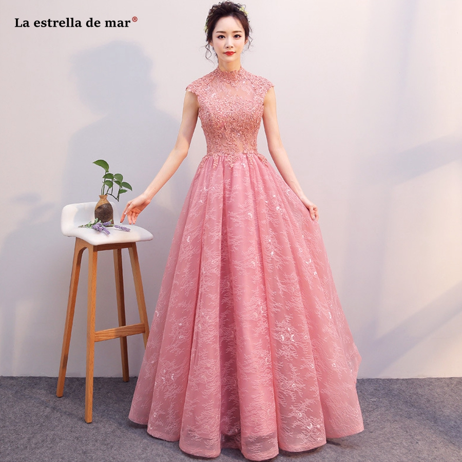 La estrella de mar vestido madrinha new lace high neck cap sleeve back open a line plus size blush pink   bridesmaid     dress   long