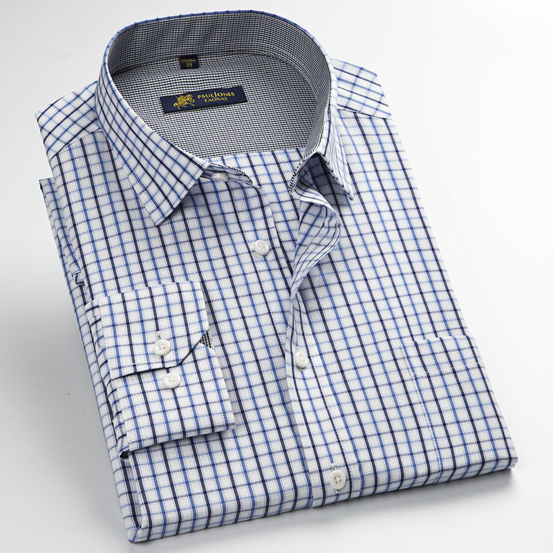 ba2faca01b37 Fashion New Men Plaid Shirts Long Sleeved Mens Dress Shirt Spring ...