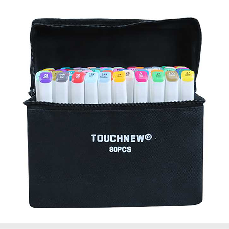 TOUCHNEW(T7) 30/40/60/80/168 Colors Art Marker Set Alcohol Based Sketch Marker Pen Fineliner For Drawing Manga Office supplies image