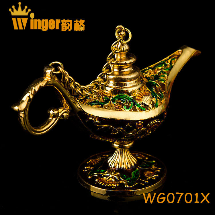 Free Shipping Hand Made India Golden Aladin Magic Lamp Home Decoration Collectible Easter Genie Lamp Souvenir