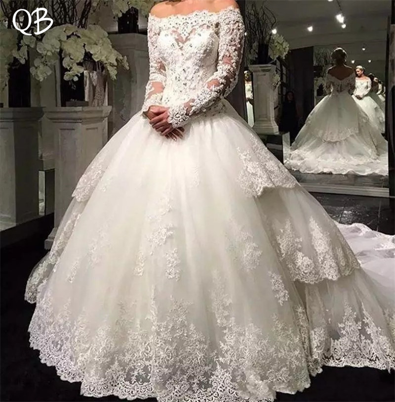 Luxury Vintage Ball Gown Long Sleeve Crystal Beaded Lace Wedding Dresses Bridal Gowns Custom Made DW240