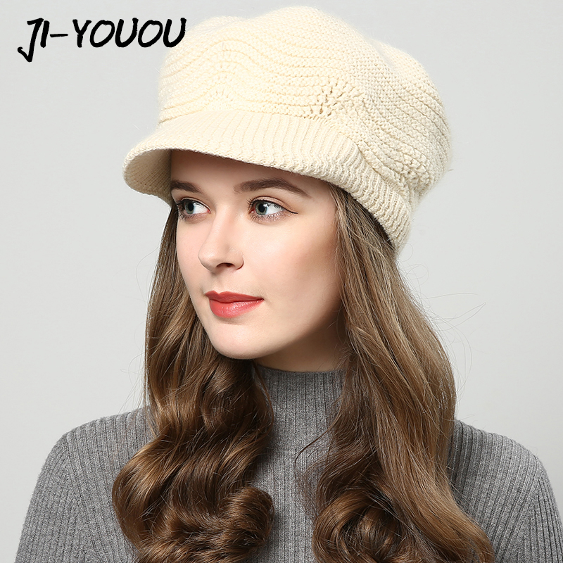 JIYOUOU winter hats for women Skullies Beanies hand made hats 2018 New women's hat knitted cap Khaki wholesale