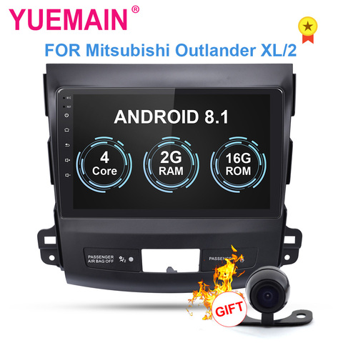 yuemain car dvd player multimidia para mitsubishi outlander xl 2005 2014 2din android 8 1