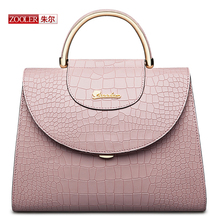 ZOOLER New arrival genuine leather handbags Alligator pattern woman bags pink fashion capacity luxury shoulder bags #CJ-6928