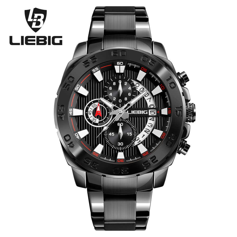 LIEBIG Men Outdoor Sports Watches Waterproof Military Wristwatches Fashion Quartz Watch Calendar Relogio Masculino S204