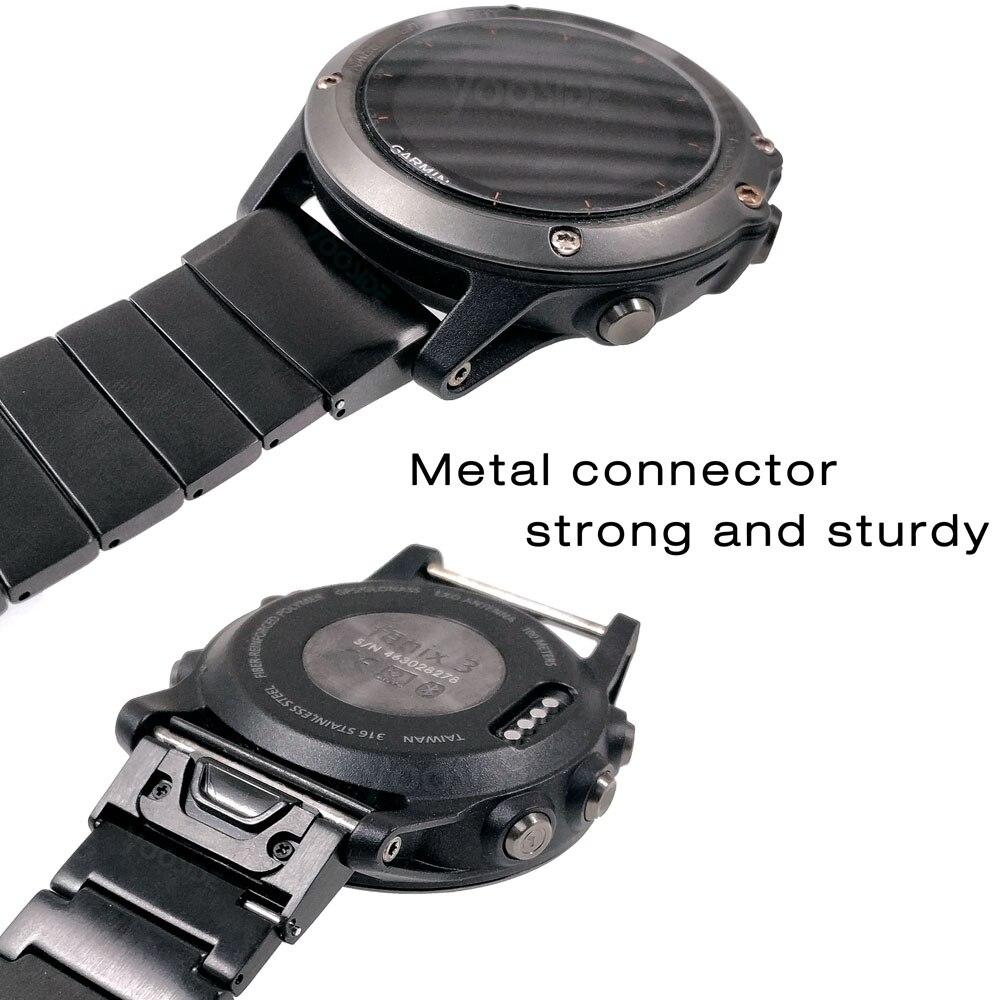 aço inoxidável pulseira de relógio para garmin