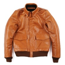 VANLED orange men 100% genuine leather Jackets casual slim classic A2 Oil wax cow