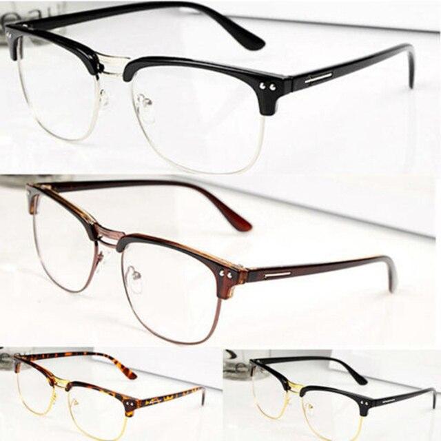 8665aee766 Fashion Hipster Vintage Retro Eyewear Half frame Metal Semi-Rimless glasses  Tortoise Clear Lens Nerd Geek Eyeglass