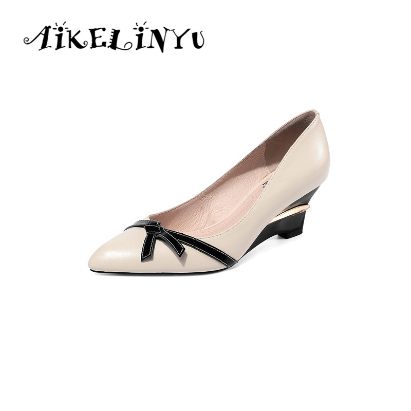 AIKELINYU 2019 New Arrival Fashion Wedges Shoes Woman Pointed Toe High Heels Women Pumps Bowknot Genuine Leather Pumps Shoes(China)