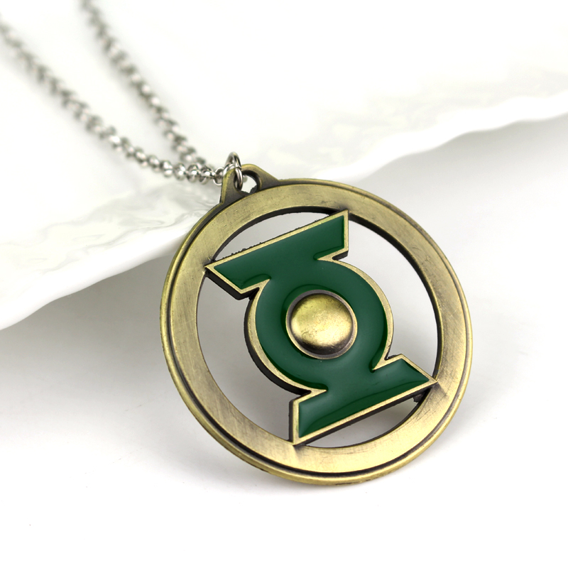 2 Colors The Green Lantern Symbol Logo Badge Silver Pendant Necklace