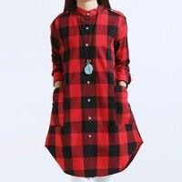 Autumn Women Tops Plus Size Women Clothing Plaid Blouses Long Sleeve Women Blouses Cotton Linen Women