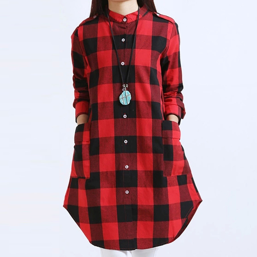 Women tops plus size m 3xl women clothing plaid blouse for Tops shirts and blouses