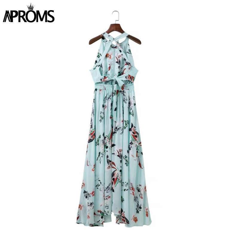 cfd59f9e80 ... Aproms Bohemian Flower Print Summer Maxi Dress Women Robe Sexy Backless  Beach Long Dresses Split Sundress ...