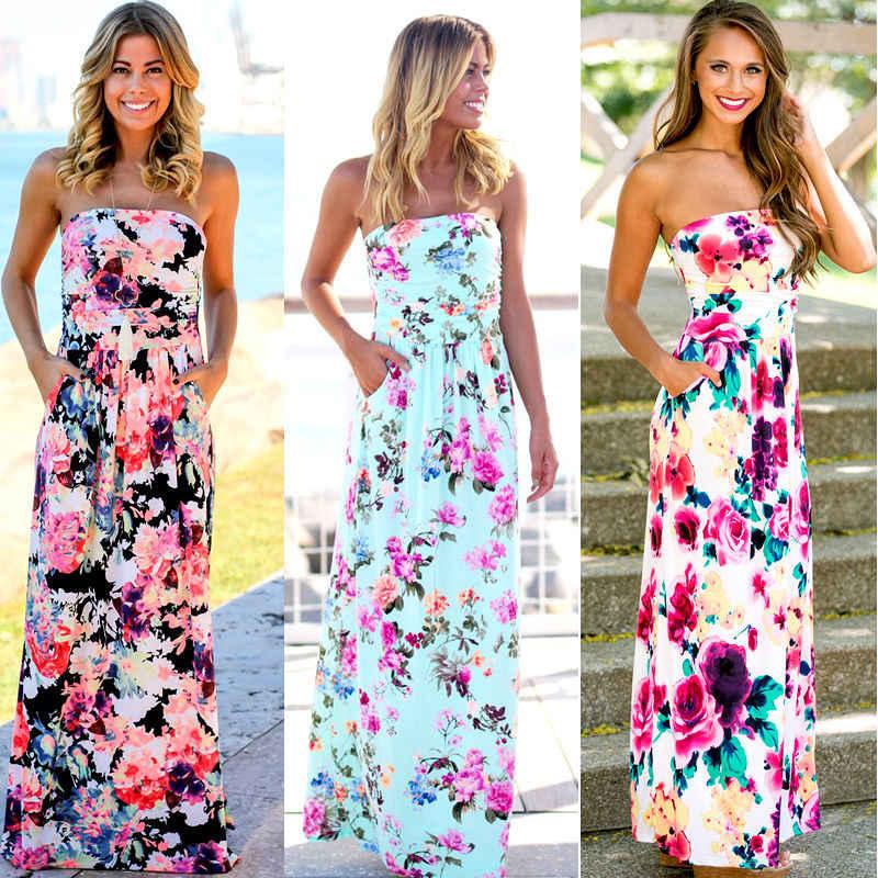 27417ebe85 New Women s Summer Dress Sexy Ladies Strapless Vintage Boho Female Flower  Print Long Maxi Womens Sleeveless