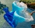 2016 do sexo feminino de alta qualidade Chinesa véus de seda fãs da dança Par de fãs de dança do ventre barato hot sale Branco + céu azul + azul