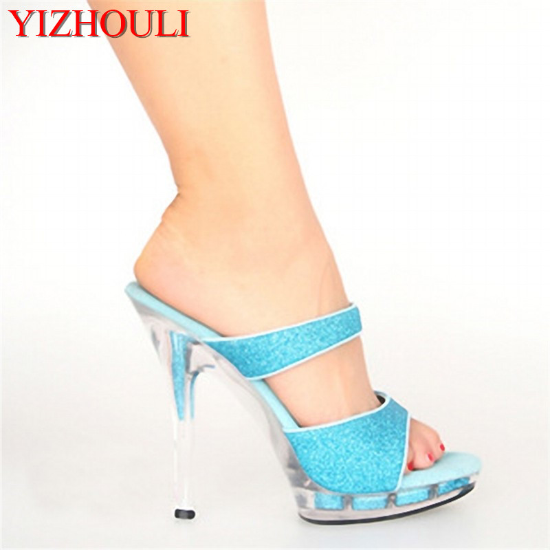 13cm nightclub sexy blue sequined sandals bride s transparent wedding ball fashion slippers