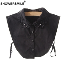 SHOWERSMILE Women Detachable Collar Removable Fake Black Ladies Cotton Peter Pan Sweaters Fashion Ol Lapel False