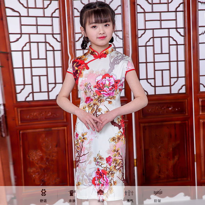 New Arrival Children Dresses Summer 2019 Straight Princess Girls Cheongsam Dresses Kid Baby Cotton Traditional Chinese Garments
