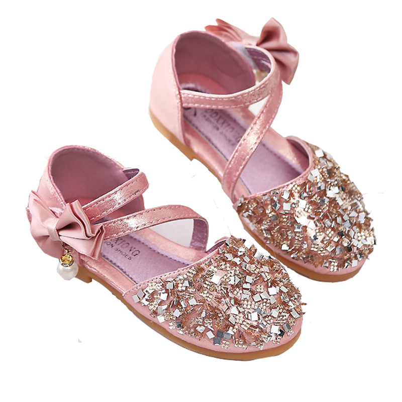 Girls Rhinestone Glitter Princess Flat Dance Shoes With Bowknot Fashion Sequins For Spring And Autumn, 3 Colors Size 21-36