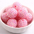 12mm/16mm/10mm to 26mm Light Pink AB Color Whoelesales Price Chunky Resin Rhinestone Beads Ball for Kids Necklace Jewelry