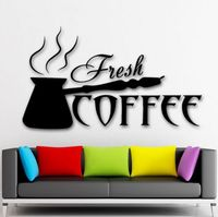 New 2015 Coffee Shop Vinyl Wall Decal Fresh Coffee Shop Time Cezve Kitchen Mural Art Wall Sticker Wall Decoration Glass Decor