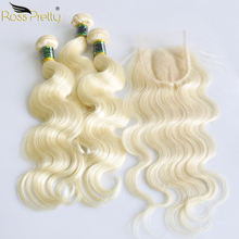 Ross Pretty Remy Malaysian Body Wave Human Hair Bundles With Lace Closure Blonde Color Pre plucked bundle 613