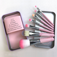 7pcs Makeup Brushes Set Synthetic Hair Portable Make Up Brush Short Handle Pink Cat With Magnetic
