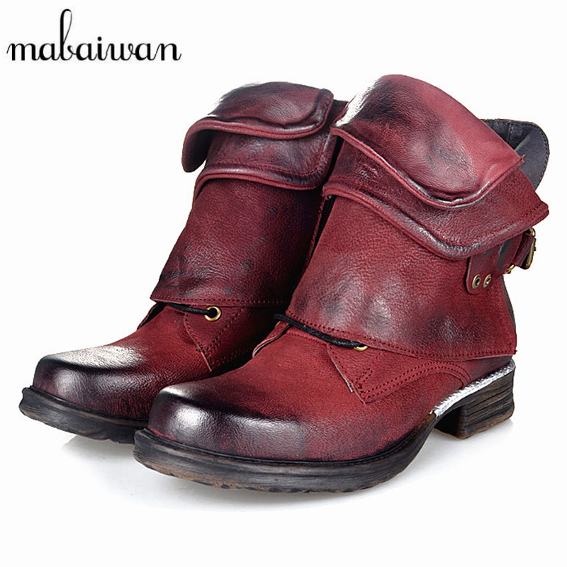 Mabaiwan Fashion Genuine Leather Women Ankle Boots Punk Style Motorcycle Boots Buckle Decor Short Botas Militares Knight Booties women martin boots 2017 autumn winter punk style shoes female genuine leather rivet retro black buckle motorcycle ankle booties
